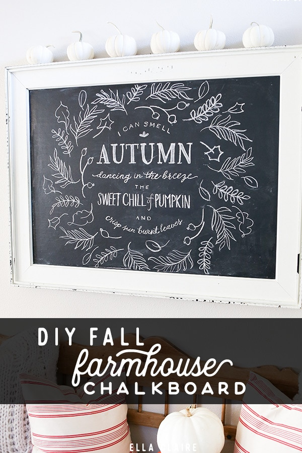 Easy DIY Autumn wreath with hand drawn Fall leaves and sweet quote!