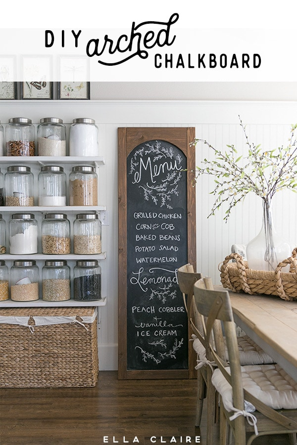 Easy DIY arched menu chalkboard- so cute for Farmhouse vintage kitchen and perfect for weekly meal planning!