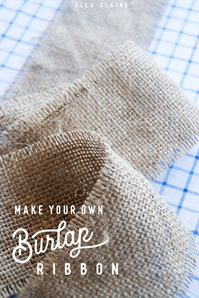 Easy DIY tutorial for inexpensive and beautiful burlap ribbon- perfect for holidays, bows, Fall decor, and wrapping Christmas presents.