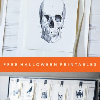 6 free black and white Halloween printables add a spooky vintage look to your Halloween decorations and parties!