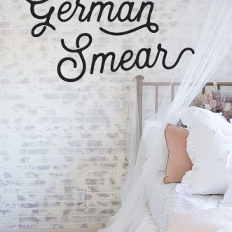 Add vintage charm to your home with an easy DIY German schmear treatment on a faux brick wall- German smear adds character to any room and is so fun in this little girl's room . #familyrooms #DIY #technique