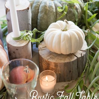 Simple and easy rustic Fall tablescape with DIY farmhouse centerpiece creates a warm and cozy place to entertain family and friends #centerpieces #burlap #farmhouse #neutral #vintage #Falldecorating #fall #autumn #falldecor