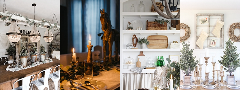 , Rustic Glam Farmhouse Christmas Dining Room