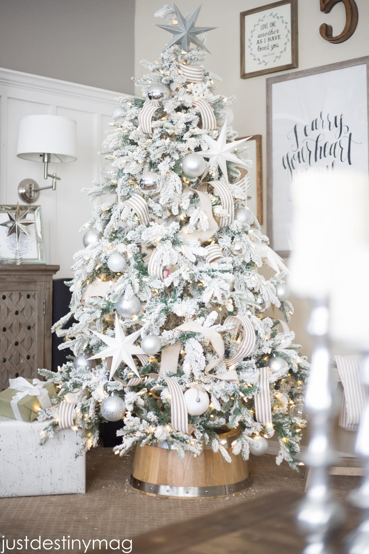 affordable flocked christmas tree_ - White Flocked Christmas Trees