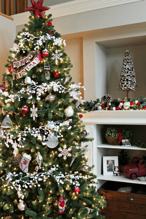 edited christmas home tour - White Christmas Tree With Red And Gold Decorations