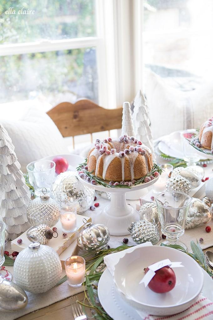 Sugared Cranberries Christmas bundt cake