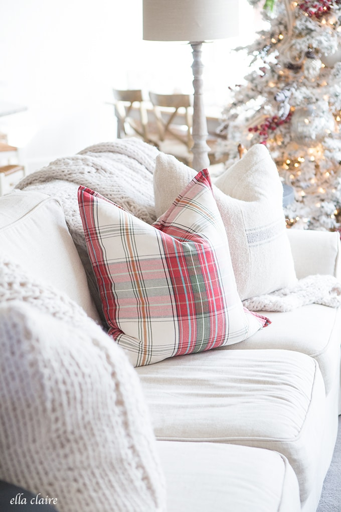 Farmhouse Christmas Family Room | Red White Plaid