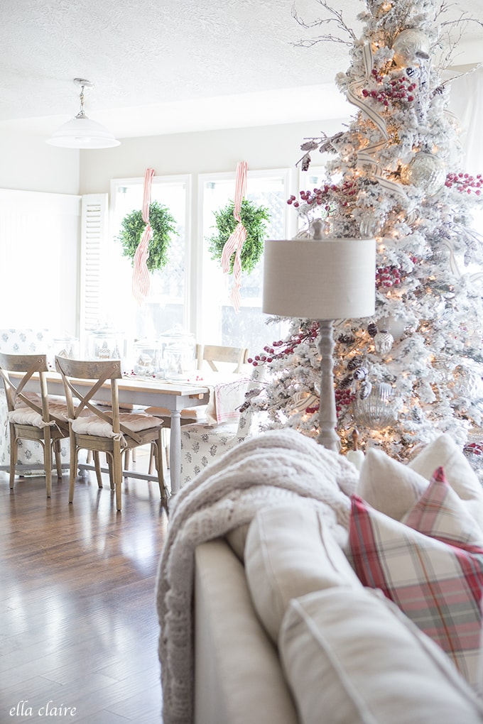 Farmhouse Christmas Family Room | Red and White with Mercury Glass
