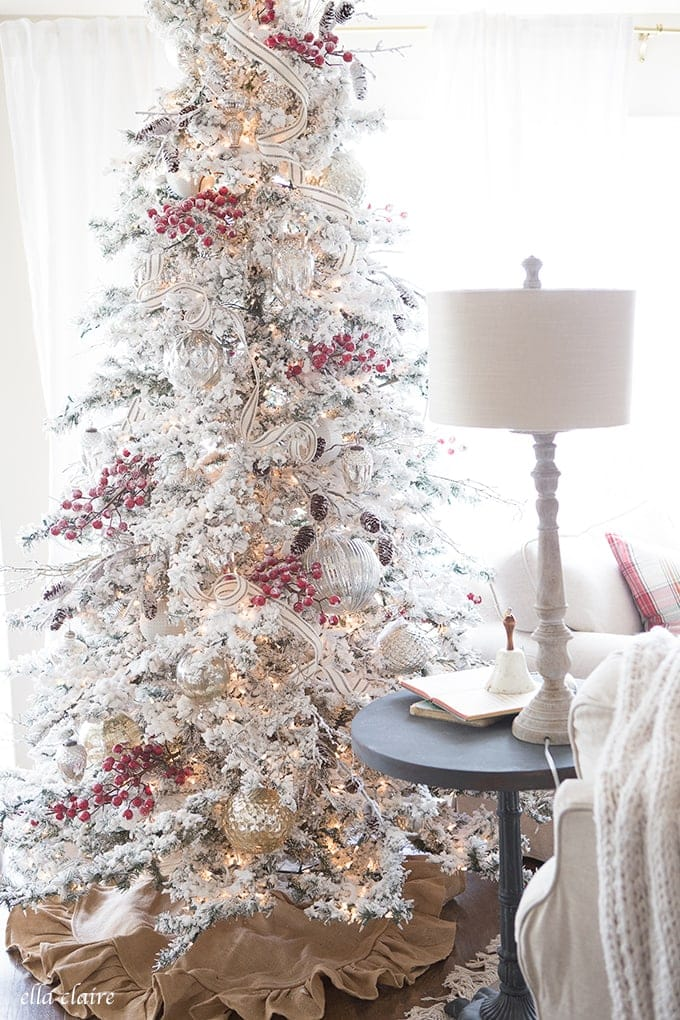 farmhouse christmas family room red and white with mercury glass - White Flocked Christmas Trees