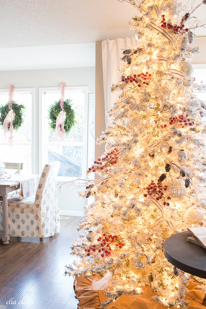 Farmhouse Christmas Family Room | Red and White
