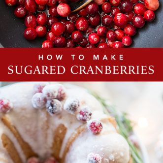How to make sugared cranberries- a beautiful and delicious dessert garnish for Christmas.
