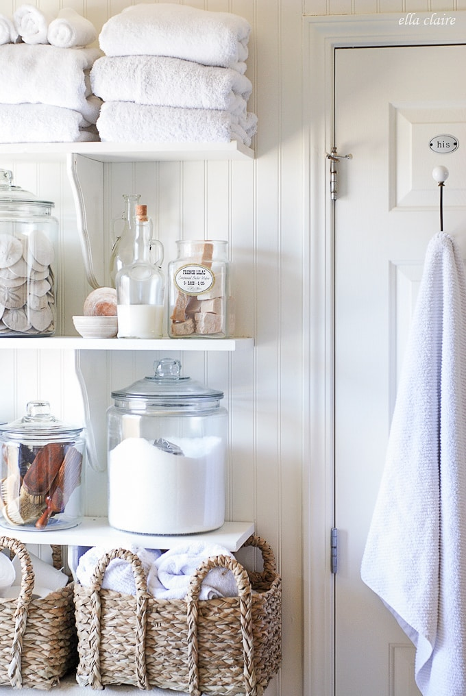 Open Shelving- Bathroom Linen closet substitute