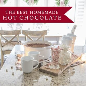 The best homemade hot chocolate recipe comes together in just a few minutes with pantry items. So chocolatey and delicious!