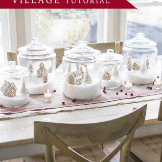 Gingerbread jar village tutorial- an easy DIY Christmas decoration project for a beautiful table, mantel, or cabinet top. This project is also perfect to do with the kids.