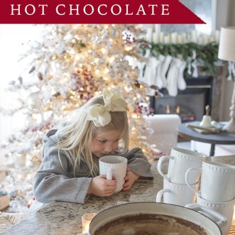 The best homemade hot chocolate recipe comes together in just a few minutes with pantry items. So chocolatey and delicious- this is one of our very favorite family Christmas recipes.