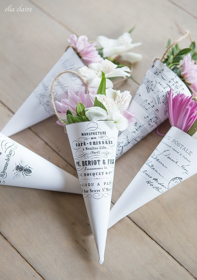 Free Printable French Flower Cones perfect for May Day or Spring gift giving!