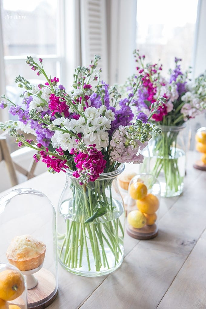 Spring Floral and Lemon Tablescape