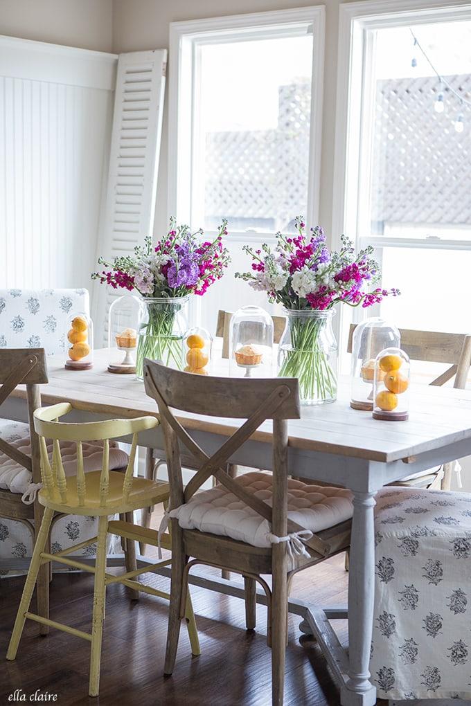 Spring Floral and Lemon Tablescape