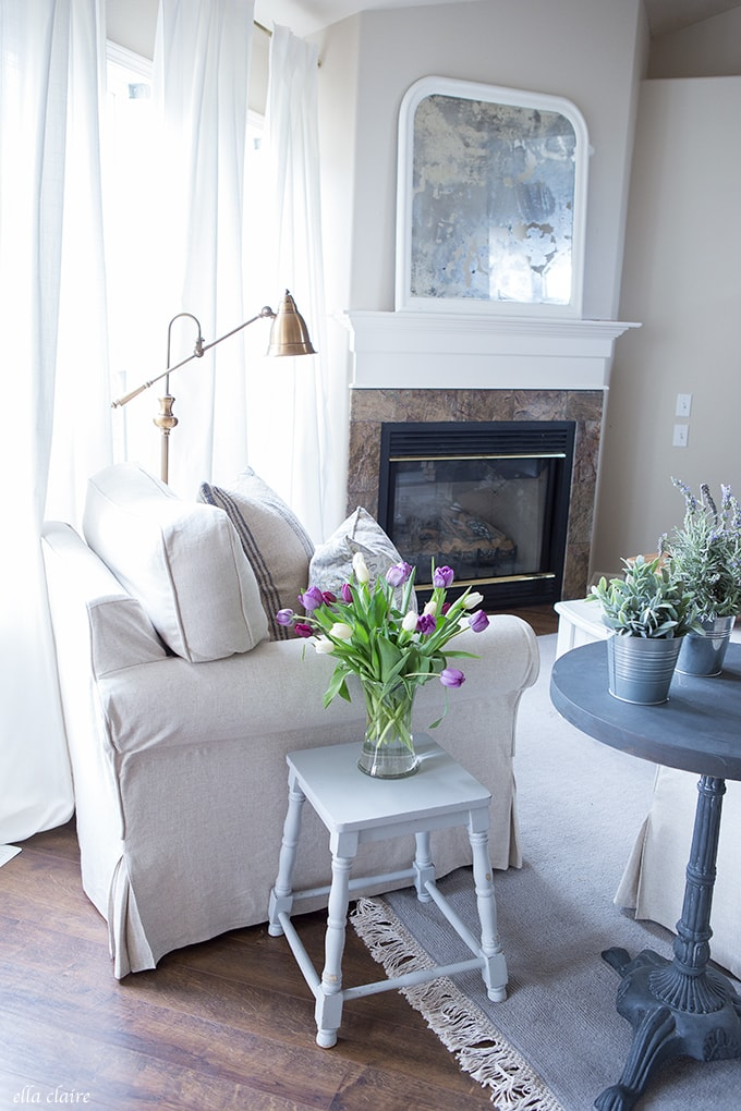 Farmhouse Spring Decor with IKEA greenery and Tulips