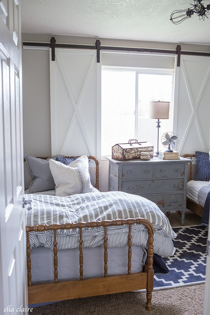Navy And Ticking Boys Room Ella Claire