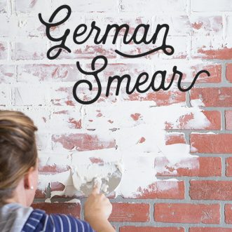 Add vintage charm to your home with an easy DIY German schmear treatment on a faux brick wall- German smear adds character to any room and is so fun in this little kid room.