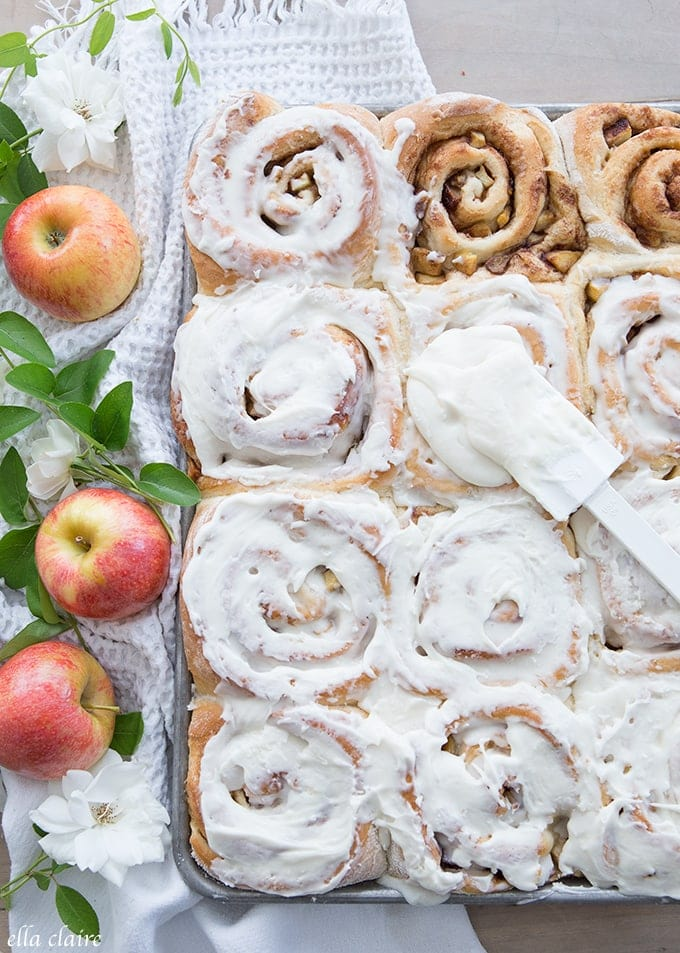 Apple Pie Cinnamon rolls are the perfect breakfast or dessert for Fall!