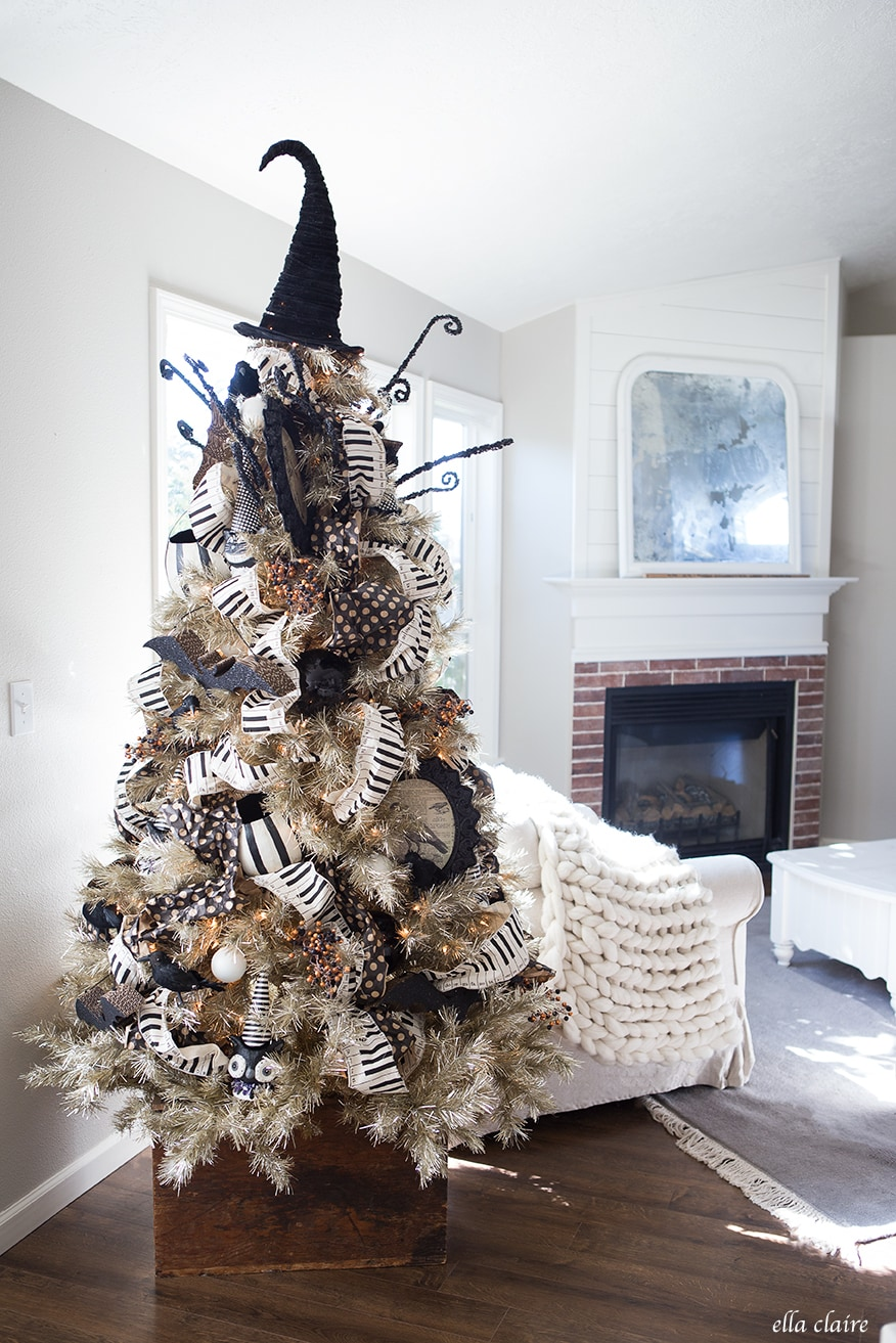 Vintage Halloween Decor, Halloween Tree, DIY Bats on Fireplace