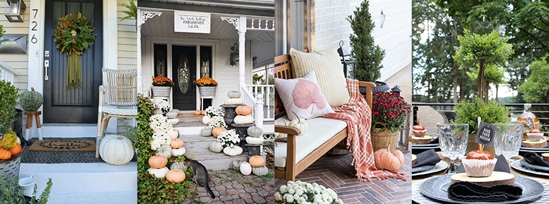 Fall Porch, Rustic Cottage Farmhouse Fall Porch Steps