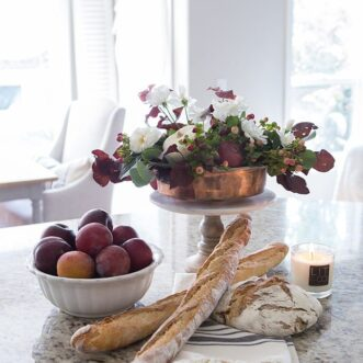 Warm and Inviting Fall decor color scheme with copper, burgundy, deep plum purple, burnt orange and white. A simple and cozy Autumn home.