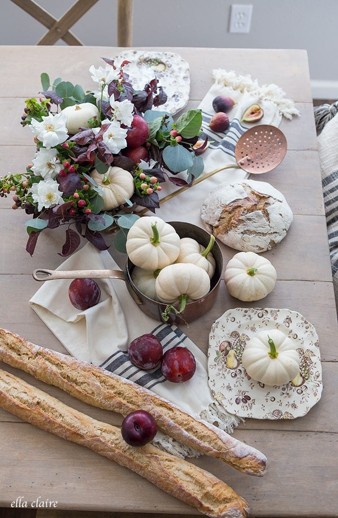 A Burgundy, Deep Purple, Copper, burnt orange and white Fall color Scheme makes for warm Autumn entertaining and inviting Home Decor.