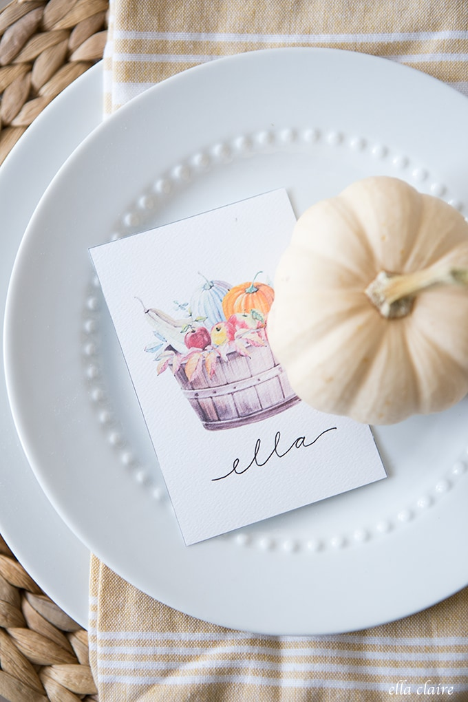 Free Printable Fall Place Cards