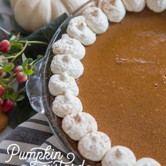 Delicious pumpkin custard pie with homemade gingersnap crust- one of the best Thanksgiving desserts full of Fall flavors! #fromscratch #holidays #pumpkin #pumpkinpie #Thanksgivingrecipes #desserts