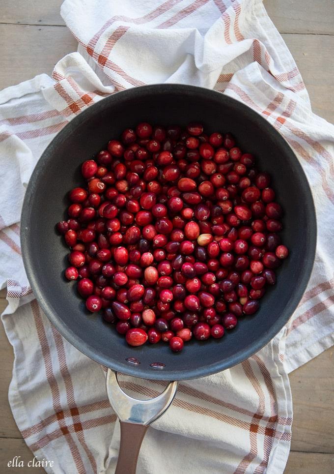 Preparing cranberries for Sauce