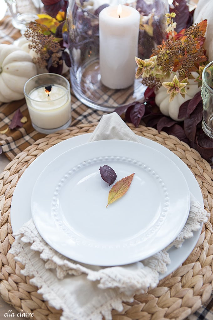 Fall leaves- Simple Fall Tablescape for Thanksgiving Entertaining