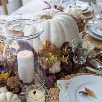 other rustic natural elements. DIY centerpiece for entertaining or everyday. #easy #natural #traditional #centerpieces #rustic #falldecorating #fall #autumn #falldecor #tablescape #falltablescape