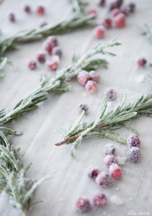 Sugared cranberries and rosemary