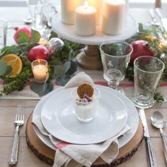 Christmas Tablescape | Pomegranates, Oranges, and Fresh Greenery