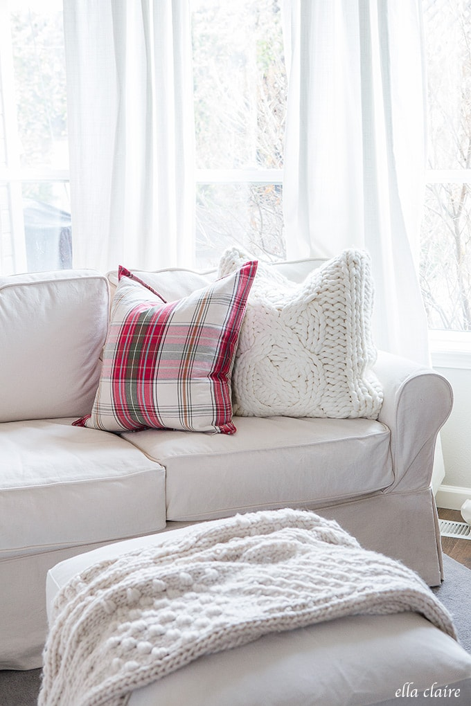 A cozy and inviting Christmas Family room- red, plaid and creamy white