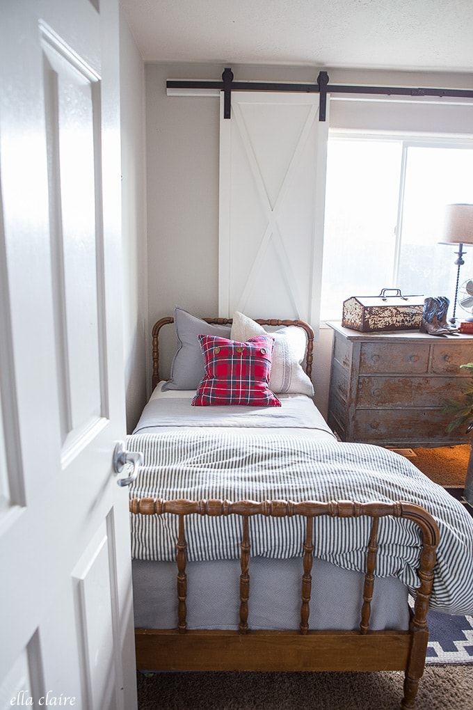 Little Boys Christmas Bedroom Red and Blue with sweet jenny lind beds