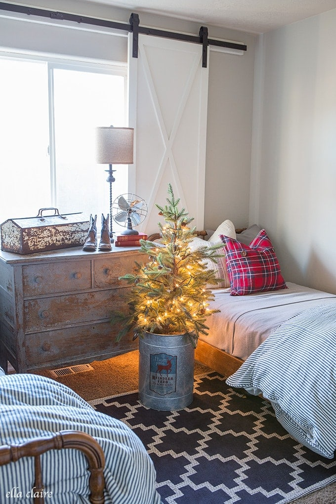 Little Boys Christmas Bedroom Red and Blue plaid and sweet vintage touches
