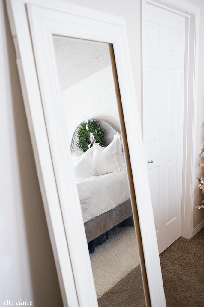Vintage mirror and Christmas bedroom