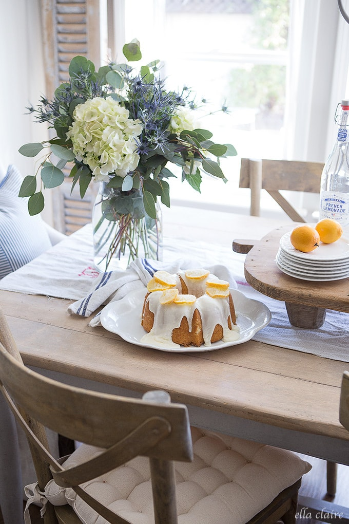 Spring Lemons, Blues, French Country Dining Area and Entertaining Ideas