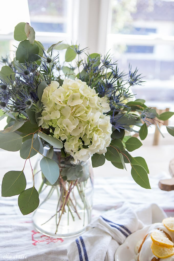 Simple Easy Grocery Store Flower Arrangement: hydrangeas, thistle, eucalyptus