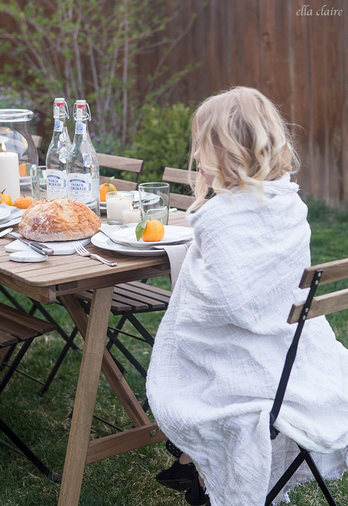 Have light Blankets on hand for Simple Outdoor Entertaining