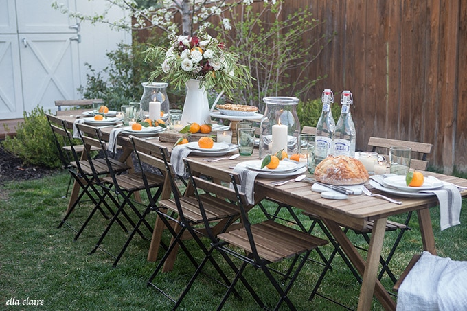 French Bistro Chairs, Wood Table, Simple Outdoor Entertaining