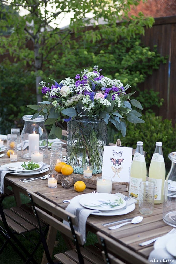 Simple garden flower arrangement for outdoor entertaining