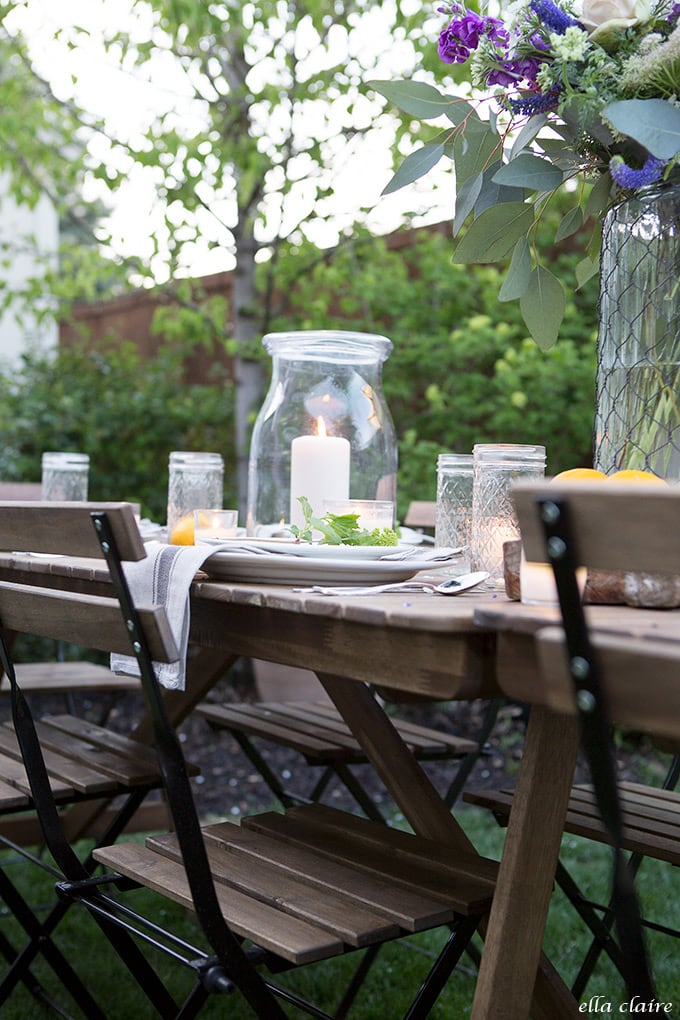 Candlelit garden entertaining with simple, inexpensive touches