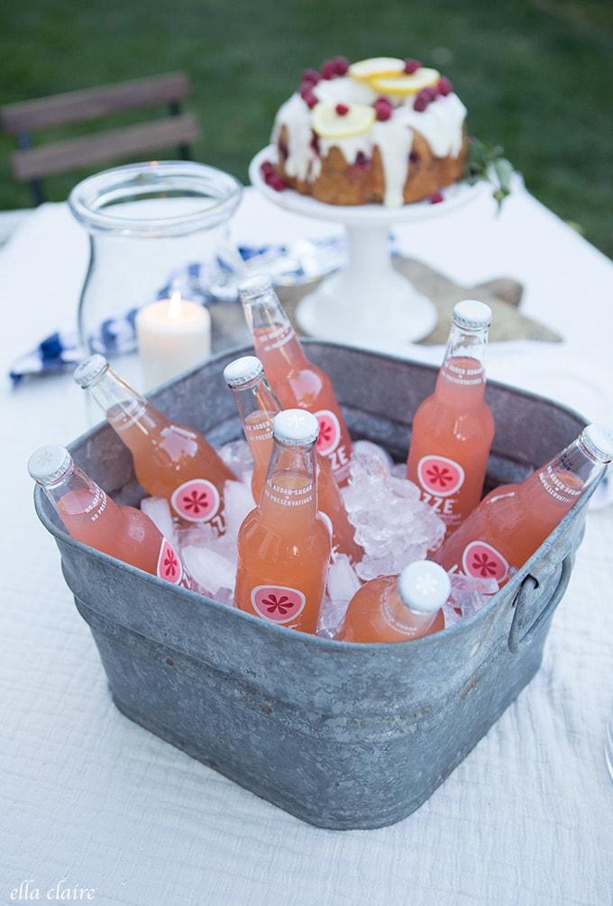 Fruit Sodas on Ice outdoor entertaining