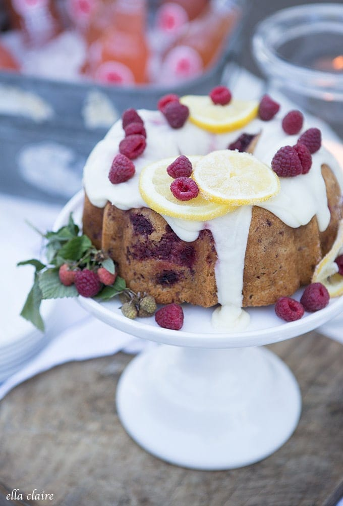 Raspberry cake with lemon icing