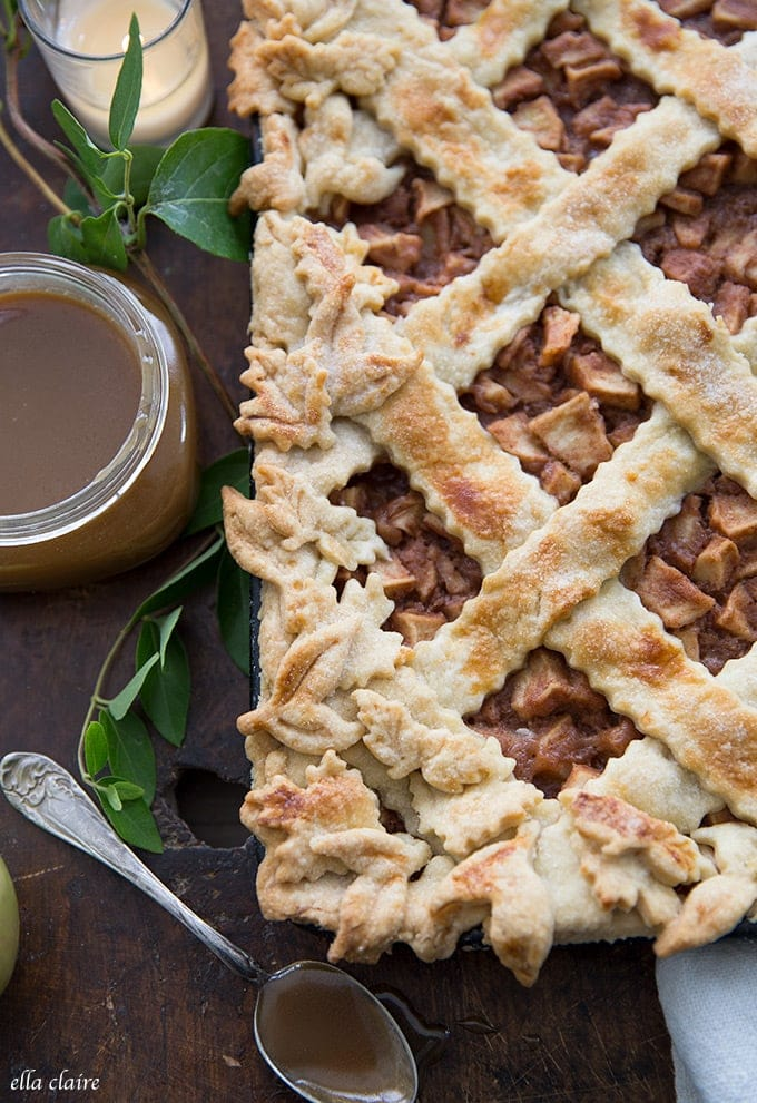 The best recipe for fall to feed a crowd- slab apple pie with caramel sauce drizzled on top.